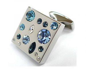 052037-1 Boutons de manchette avec cristaux Swarovski bleus de la marque Tailor B image 0 produit