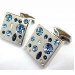 052037-1 Boutons de manchette avec cristaux Swarovski bleus de la marque Tailor B image 1 produit