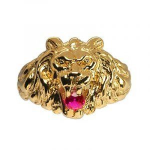 1001 Bijoux - Chevalière lion gros modèle pierre rouge vermeil de la marque 1001 Bijoux image 0 produit