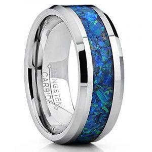 8MM Bague de mariage en Carbure de Tungstène avec bleu et vert opale. Pour Homme Intérieur Confort de la marque Ultimate Metals Co. image 0 produit