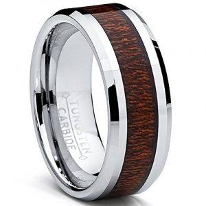 8MM Bague Tungstène Pour Homme - Anneau de Mariage Incrusté Du Bois Veritable de la marque Ultimate Metals Co. image 0 produit