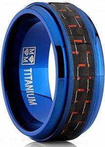 9MM Bague de mariage en titane bleu avec fibre de carbone noir et rouge.Pour Homme,Intérieur Confort de la marque Ultimate Metals Co. image 0 produit