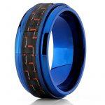 9MM Bague de mariage en titane bleu avec fibre de carbone noir et rouge.Pour Homme,Intérieur Confort de la marque Ultimate Metals Co. image 1 produit