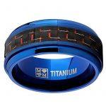 9MM Bague de mariage en titane bleu avec fibre de carbone noir et rouge.Pour Homme,Intérieur Confort de la marque Ultimate Metals Co. image 2 produit