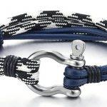Acier Bracelet Vis Manilles d'ancrage - Homme Femme - Noir Blanc Cuir Sur Cordon - Nautique Marin Envelopper Bracelet de la marque COOLSTEELANDBEYOND image 1 produit