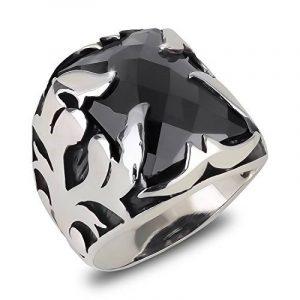 Aden's Jewels-Bague-Chevalière-Argent 13,7Gr-Homme-Biker-Motards-Couleur Argent Vieilli-Pierre d'onyx noire-armoiries-Héraldiques-Dimensions 20mm x 15mm de la marque Aden's Jewels image 0 produit
