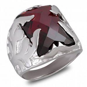 Aden's Jewels - Bague-Chevalière-Argent rhodié 14-2 Gr-Homme-Biker-Motards-Couleur rouge-Pierre de zirconium couleur grenat-Armoiries de la marque Aden's Jewels image 0 produit