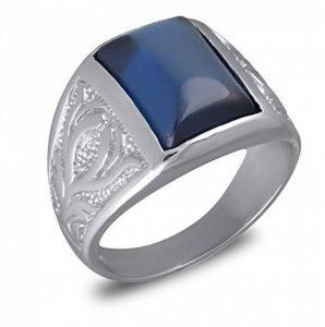 Aden's Jewels - Bague-Chevalière-Argent rhodié 9.30 Gr-Homme-Femme-pierre de zirconium bleue de la marque Aden's Jewels image 0 produit