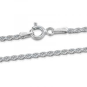 Amberta® Bijoux - Collier - Chaîne Argent 925/1000 - Maille Corde - Largeur 1.5 mm - Longueur 40 45 50 55 60 cm de la marque Amberta image 0 produit