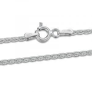 Amberta® Bijoux - Collier - Chaîne Argent 925/1000 - Maille Spiga - Largeur 1.7 mm - Longueur 40 45 50 55 60 cm de la marque Amberta image 0 produit