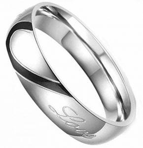 AMDXD Bijoux Acier Inoxydable Couple Bagues Promise Mariage Real Amour Cœur de la marque AmDxD image 0 produit