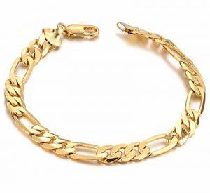AMDXD Bijoux Bracelet Hommes Plaqué Or chaîne gourmette Lien Charme Bracelets en or 21CM de la marque AmDxD image 0 produit