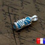 Amulette tahitienne porte bonheur tiki et sa chaine 50cm en argent massif 925 neuf et avec boite coffret bleu turquoise de la marque ASCALIDO image 2 produit