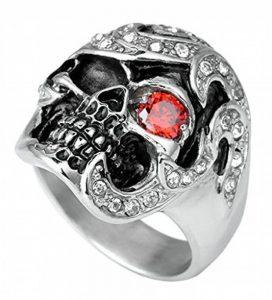 AnaZoz Bijoux Gothique Bague Homme Acier Inoxydable Anneau Style Punk Bague Crâne Tête de Mort Incrusté Rouge œil Zircon Cubique Rouge&Argent de la marque AnazoZ image 0 produit