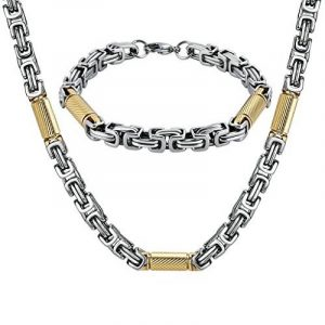 AnaZoz Bracelet Collier Acier Inoxydable Rond Mechanic Link Byzantine Chaîne Bracelet Collier Ensemble Homme de la marque AnazoZ image 0 produit
