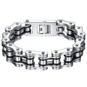 Aoiy - Bracelet Homme - Acier Inoxydable - chaîne de bicyclette - couleur noir et argent- grand et lourd - Biker Bracelet, 22.3cm, ccb022 de la marque Aoiy image 0 produit
