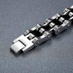 Aoiy - Bracelet Homme - Acier Inoxydable - chaîne de bicyclette - couleur noir et argent- grand et lourd - Biker Bracelet, 22.3cm, ccb022 de la marque Aoiy image 1 produit