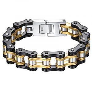 Aoiy - Bracelet Homme - Acier Inoxydable - chaîne de bicyclette - couleur noir et or - grand et lourd - Biker Bracelet 22.3cm, ccb021 de la marque Aoiy image 0 produit