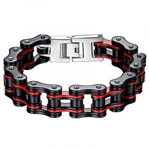 Aoiy - Bracelet Homme - Acier Inoxydable - chaîne de bicyclette - - grand et lourd - noir et rouge - Biker Bracelet, 22.3cm, ccb020 de la marque Aoiy image 0 produit