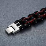 Aoiy - Bracelet Homme - Acier Inoxydable - chaîne de bicyclette - - grand et lourd - noir et rouge - Biker Bracelet, 22.3cm, ccb020 de la marque Aoiy image 1 produit