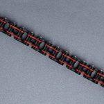 Aoiy - Bracelet Homme - Acier Inoxydable - chaîne de bicyclette - - grand et lourd - noir et rouge - Biker Bracelet, 22.3cm, ccb020 de la marque Aoiy image 2 produit