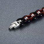 Aoiy - Bracelet Homme - Acier Inoxydable - chaîne de bicyclette - lourd - noir et rouge - Biker Bracelet, 21.8cm, ccb019 de la marque Aoiy image 1 produit