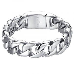 Aoiy - Bracelet Homme - Acier Inoxydable - gourmette - grand et lourd - Biker Bracelet, 21.3cm, ccb016 de la marque Aoiy image 0 produit