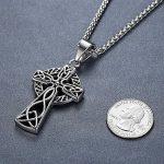 Aoiy - Collier avec pendentif hommes - Acier Inoxydable - celte filigrane Croix, noeud irlandais, chaîne 61cm, aap136 de la marque Aoiy image 2 produit
