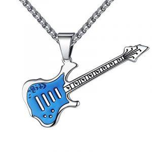 Aoiy - Collier avec pendentif hommes - Acier Inoxydable - Guitare, couleur bleue et argentée, chaîne 61cm, ddp054la de la marque Aoiy image 0 produit