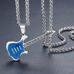 Aoiy - Collier avec pendentif hommes - Acier Inoxydable - Guitare, couleur bleue et argentée, chaîne 61cm, ddp054la de la marque Aoiy image 1 produit