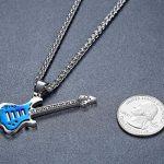 Aoiy - Collier avec pendentif hommes - Acier Inoxydable - Guitare, couleur bleue et argentée, chaîne 61cm, ddp054la de la marque Aoiy image 2 produit