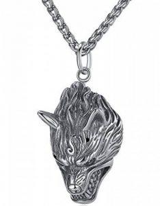 Aoiy - Collier avec pendentif hommes - Acier Inoxydable - Loup - chaîne 61cm - hhp009 de la marque Aoiy image 0 produit