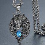 Aoiy - Collier avec pendentif hommes - Acier Inoxydable - loup tribal - bleu zircone cubique - chaîne 61cm - aap059la de la marque Aoiy image 1 produit