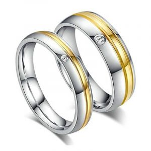 Aooaz acier inoxydable anneau charme élégant or argent CZ cristal demi-jonc pour Couple de la marque Aooaz image 0 produit