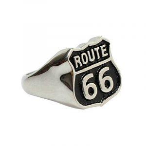 Aooaz Pour hommes En acier inoxydable bague Argent Noir Deux tons 66 Route modèle demi-jonc Punk gothique Biker de la marque Aooaz image 0 produit