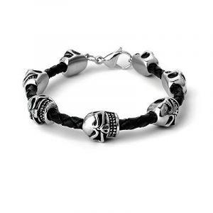 ape7® Cool Bracelet tressé en cuir fin Noir avec 7crânes couleur argent poli Biker Style gothique punk de la marque APE7 image 0 produit