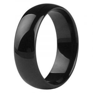 bague alliance de mariage anneau homme en pur céramique noire luxe de la marque UrbanBijoux image 0 produit