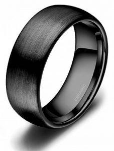Bague Céramique Noir Finition Mat Interieur Confort Hommes Femmes Anneau de Mariage Fiançaille Alliance de la marque Titaniumcentral image 0 produit