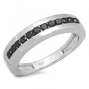 Bague Homme 10 ct Or Blanc Diamant 0.50 ct Rond Noir Diamant Hip Hop de la marque Joyara image 0 produit