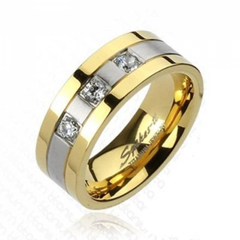 Bague or pour homme avec pierre