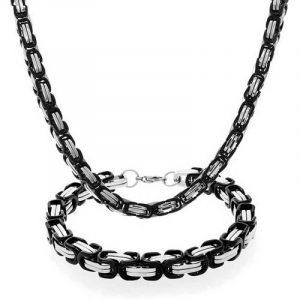 Bling Jewelry en acier inoxydable Mens Deux tonalité case Chaîne Bracelet Collier fixé de la marque Bling Jewelry image 0 produit