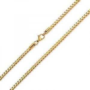 Bling Jewelry Mens Boîte Acier Inoxydable plaqué or 3mm Collier Chaîne de la marque Bling Jewelry image 0 produit