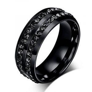 BOBIJOO Jewelry - Alliance Anneau Bague Double Strass Noir Acier Inoxydable Mariage Femme Homme de la marque BOBIJOO Jewelry image 0 produit