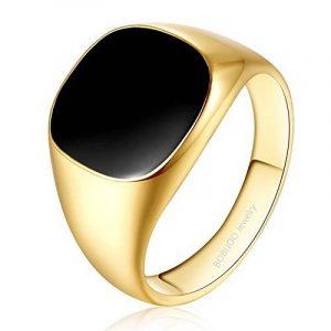 BOBIJOO Jewelry - Bague Chevalière Cabochon Homme Femme Acier Inoxydable Noir Doré Or Fin Onyx de la marque BOBIJOO Jewelry image 0 produit
