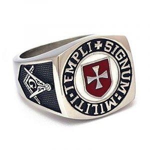 BOBIJOO Jewelry - Bague Chevalière Homme Franc-Maçon Templier Croix Rouge Templi Signum Militi de la marque BOBIJOO Jewelry image 0 produit