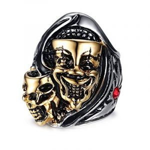 BOBIJOO Jewelry - Bague Chevalière Homme Masque Double Tête Mort Squelette Argent Or Rouge Biker de la marque BOBIJOO Jewelry image 0 produit