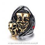BOBIJOO Jewelry - Bague Chevalière Homme Masque Double Tête Mort Squelette Argent Or Rouge Biker de la marque BOBIJOO Jewelry image 1 produit