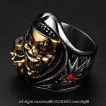 BOBIJOO Jewelry - Bague Chevalière Homme Masque Double Tête Mort Squelette Argent Or Rouge Biker de la marque BOBIJOO Jewelry image 6 produit