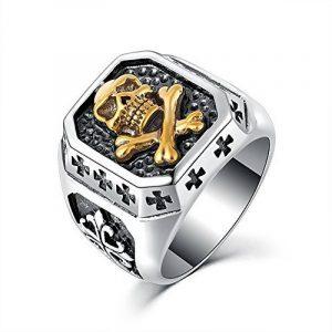 BOBIJOO Jewelry - Bague Chevalière Tête de Mort Argenté Or Croix Templiers Acier Inoxydable Biker de la marque BOBIJOO Jewelry image 0 produit