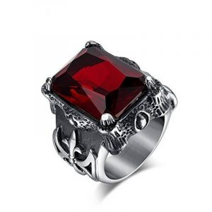 BOBIJOO Jewelry - Bague Homme Rouge Croix Chevalière Templier Franc Maçon Fleur Lys Biker Acier de la marque BOBIJOO Jewelry image 0 produit